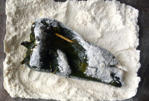 Poblano dipped in flour
